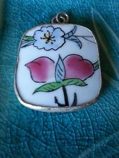Pendant - Square Ming Pottery Shard Flower