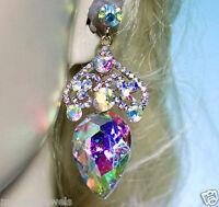 Chandelier Earrings Rhinestone Bridal Prom Pageant Austrian Crystal AB 2.8 Inch