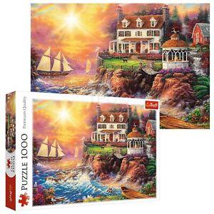 Trefl 1000 Piece Adult Large Peaceful Haven Cliff Scene Sea Ships Jigsaw Puzzle