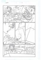 ORIGINAL ART PAGE OF THE AVENGER'S WASP FIGHTING NAMORA BY CRAIG ROUSSEAU