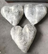 3 X Heart Shaped Grey Mix Faux Fur Decorative Cushions - Approx Size 40cm X 40cm