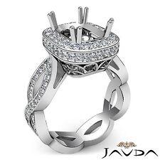 Cushion Semi Mount 1.3Ct Diamond Engagement 14k White Gold Halo Curve Shank Ring