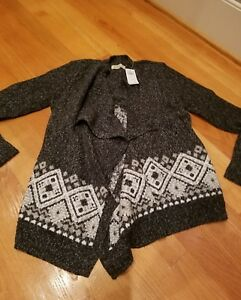 NWT Hollister Patterned Blanket Cardigan Sweater Dark Gray Patterened  M or L
