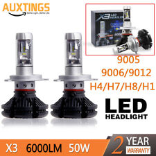 2X9006 Led Car Bulbs 3000/6500/8000K ZES Chip SUV 6000LM Headlight Kits 50W lamp