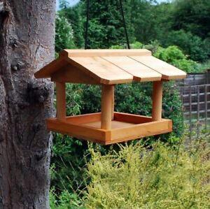 HANGING WOODEN BIRD TABLE STATION TRADITIONAL FEEDING GARDEN BIRD CARE NEW