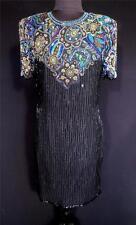 Vintage 1980'S Black Silk Chiffon Scala Beaded Dress Size 8+