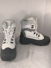 Womens Boots - Itasca | Size: 8 | White Leather, Faux Fur, Rubber Sole