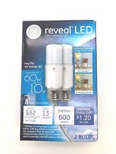 GE 60W Reveal LED Stick Replacement Lightbulbs 2 Bulbs NEW 600 Lumens
