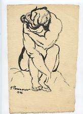 PONOMAREW DESSIN GOUACHE 1946 SIGNÉ HANDSIGNED DRAWING RUSSIE ÉTUDE FEMME NUE