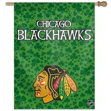 "NHL Chicago Blackhawks 27"" x 37"" Vertical Wincraft Banner Flag Shamrock Green"