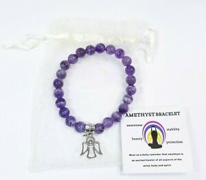 Amethyst Bracelet With Angel Charm