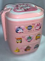 Robocar Poli Stackable Bowl Lunch Box Bento Storage Container Pink Rare Htf 7.5""