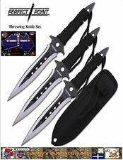 "Perfect Point Throwing Knives. 3pc Set 7.5"" Overall."