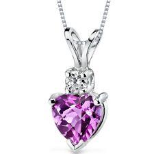 14 kt White Gold Heart Shape 1.00 ct Pink Sapphire Pendant