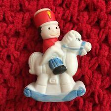 Vintage Jasco Soldier On Ceramic Rocking Horse Christmas Light Holding Ornament