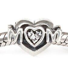 LOVE HEART MUM Mother Genuine 925 Sterling Silver Charm Bead 4 European Bracelet
