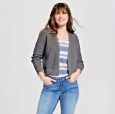 Universal Thread Women's Cropped Open Cardigan Wool Blend Knit Gray XS New $25