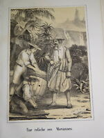 RARE Litho ILES MARIANNES Mariana Islands VOYAGE PACIFIQUE OCEANIE AMERICA 1840