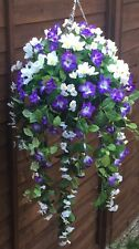 Beautiful Artificial Hanging Basket White And Purple