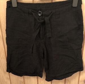 Ladies Ethel Austin Linen Shorts Size 10 Black
