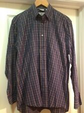 Luciano Barbera Blue Yellow Plaid Check Cotton Button Down Casual Dress Shirt L