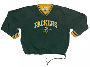 Vintage Champion Mens Size 2XL Green Bay Packers Jacket Windbreaker Pullover