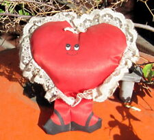 1980s Stuffed Red Valentine Heart Figure with White lace and Legs