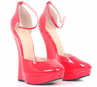 UK Women Super Wedge High Heels Ankle Strap Pumps Mary Jane Patent Leather Shoes