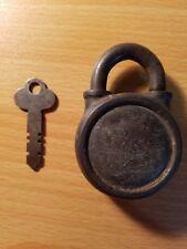 Vintage Circular Yale Padlock With Key