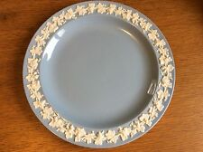 """Wedgwood Queen's Ware Embossed Blue Plate Luncheon 9-1/4"""" Grapevine"""