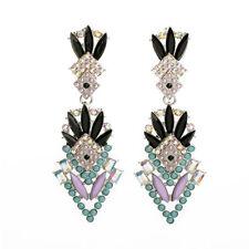 NEW Stylish Anthropologie Messoni Teal Pink Black Gemmed Drop Earrings