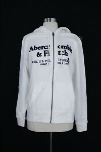 NWT Abercrombie & Fitch Mens Logo Full-Zip Logo Hoodie off white size S