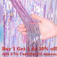 Quality Photography Background Foil Curtains  Decorative Garland Laser Backdrop