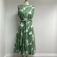 HOBBS Dress Size 14 Twitchell Palm Leaf Print Pockets Midi Summer 100% Linen