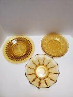 Set of 3 Vintage Amber Glass Serving Dishes / Bowls