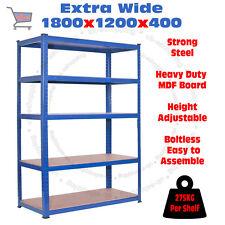 5 Tier Blue Garage Storage 1200W Shelving Steel Racking Super Strong MDF Board