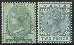 MALTA 1885 QV 1/2D AND 2D