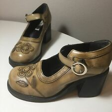 Steve Madden Mary Jane Shoes Heels sz 7 7.5 Flower Chunky Grunge ClubKid Fall
