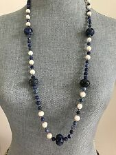 "Long Endless Sodalite Gemstones Beads & Freshwater Pearl Necklace 34"" New"