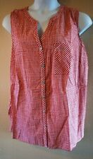 WOMEN'S PLUS SIZE 2X 18W 20W RED & WHITE CHECK TANK SUMMER SHIRT - CLOTHING NEW