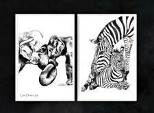 Elephant and Zebra Nursery Art, Mother and Baby Prints, Animal Nursery Decor