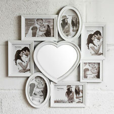 Large 7 Aperture Picture Multi Wall Photo Frame Heart Mirror 4x6 Shabby Chic