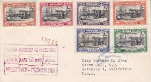 1947 Costa Rica #C148-153 FDC(?) complete to US;Columbus, ship topical *d
