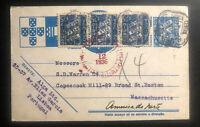 1936 Lisbon Portugal Uprated Postcard Airmail Cover To Boston MA USA