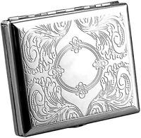 Etched Metal Cigarette Holder Silver Case For 20 Regular or 100's Size 100mm