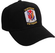 South Vietnam and American Flag Hat Black Ball Cap Vietnam Veteran