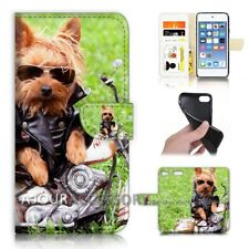 ( For iPod Touch 6 ) Wallet Flip Case Cover AJ40127 Dog on Motorcycle