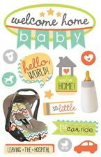 Scrapbooking Crafts 3D Stickers Paper House Welcome Home Baby 1st Car Ride Seat