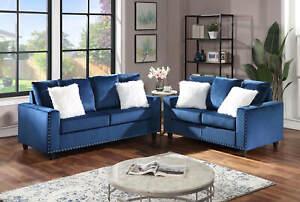 NEW 2PC Sofa Couch Loveseat Set Royal Blue Velvet Modern Living Furniture Set