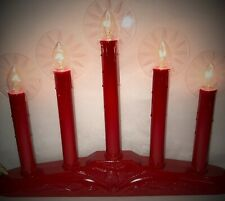 New Red Five-Light Candolier/Electric Window Candle/Candelabra w/ Flame Halos!